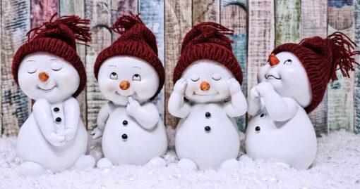 Diamond Painting-billede med julemotiv: 4 charmerende og søde snemænd