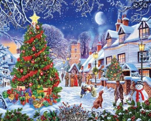 Diamond Painting-billede med julemotiv: Juleby med juletræ