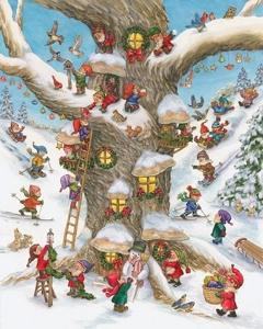Diamond Painting-billede med julemotiv: Nisser i træ
