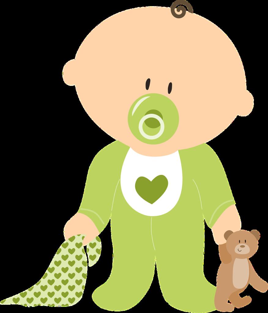 Baby der bruger sut. Baby har en bamse og sutteklud i hver sin hånd